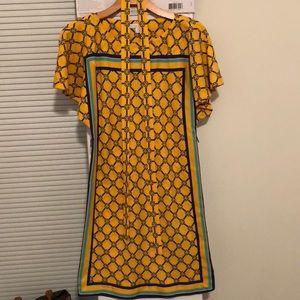 NWOT NY&CO yellow and blue dress w belt - XS
